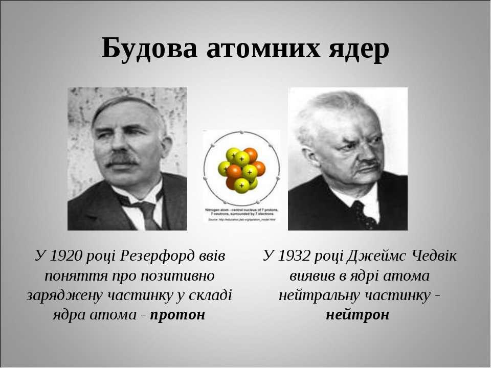 Будова атомних ядер У 1920 році Резерфорд ввів поняття про позитивно заряджен...
