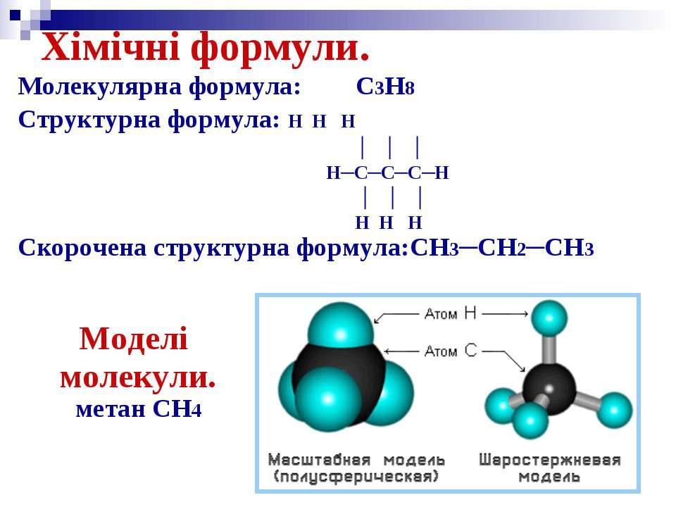 Хімічні формули. Молекулярна формула: C3H8 Структурна формула: H H H │ │ │ H─...