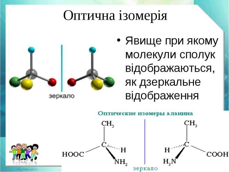 Явище при якому молекули сполук відображаються, як дзеркальне відображення Оп...