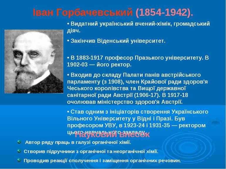 Іван Горбачевський (1854-1942). Видатний український вчений-хімік, громадськи...