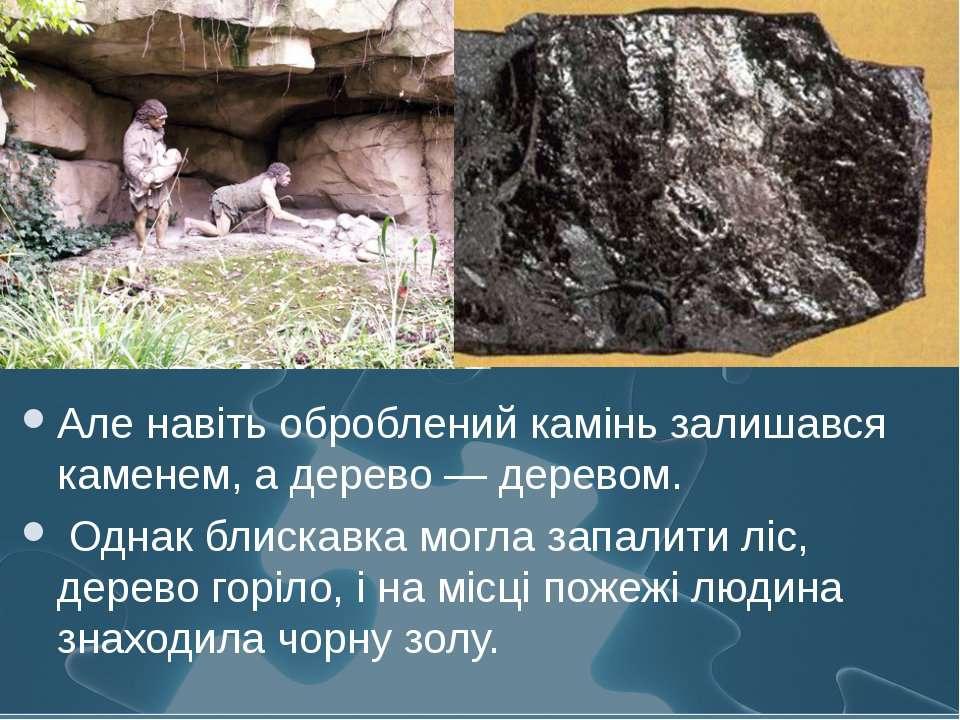 Але навіть оброблений камінь залишався каменем, а дерево — деревом. Однак бли...