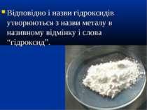 Відповідно і назви гідроксидів утворюються з назви металу в називному відмінк...