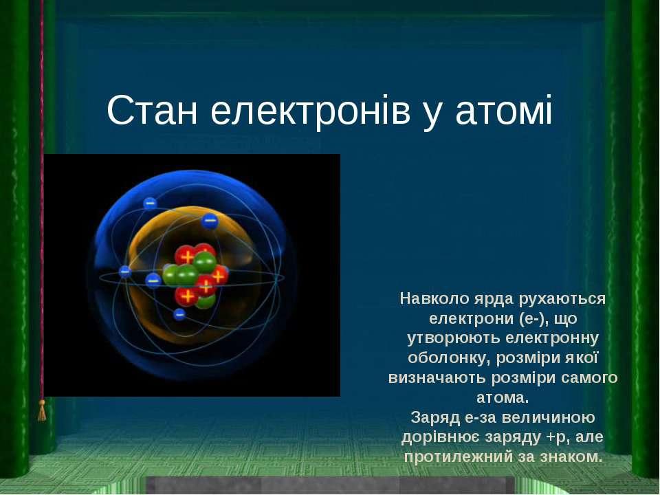Стан електронів у атомі Навколо ярда рухаються електрони (e-), що утворюють е...