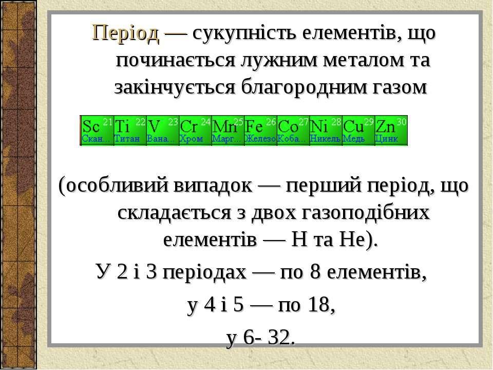 Період — сукупність елементів, що починається лужним металом та закінчується ...