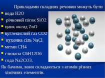 Прикладами складних речовин можуть бути вода Н2О річковий пісок SiO2 цинк окс...