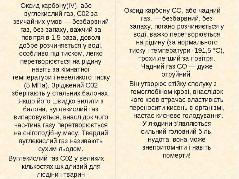 Оксид карбону(IV), або вуглекислий газ, С02 за звичайних умов — безбарвний га...