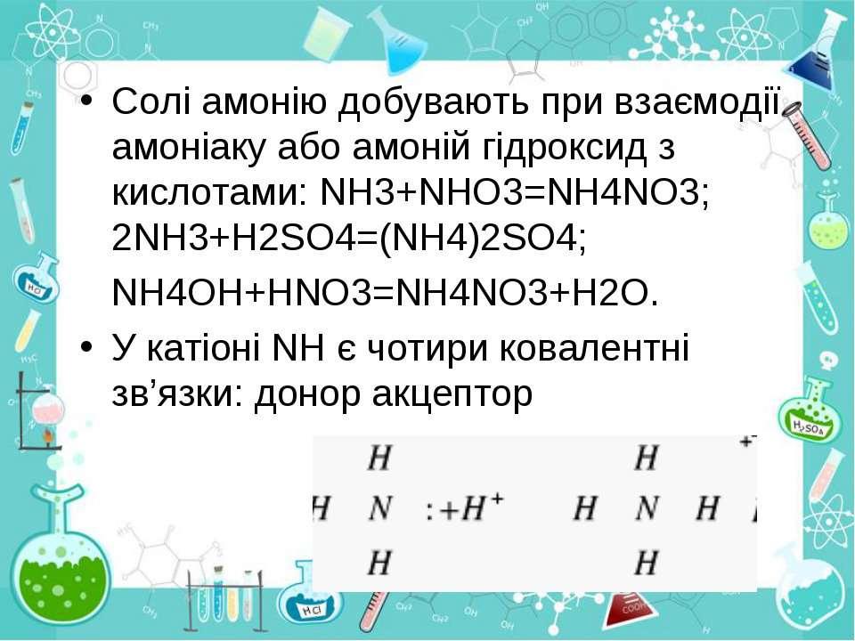 Солі амонію добувають при взаємодії амоніаку або амоній гідроксид з кислотами...
