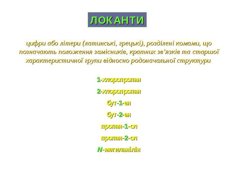 ЛОКАНТИ 1-хлоропропан 2-хлоропропан бут-1-ен бут-2-ен пропан-1-ол пропан-2-ол...