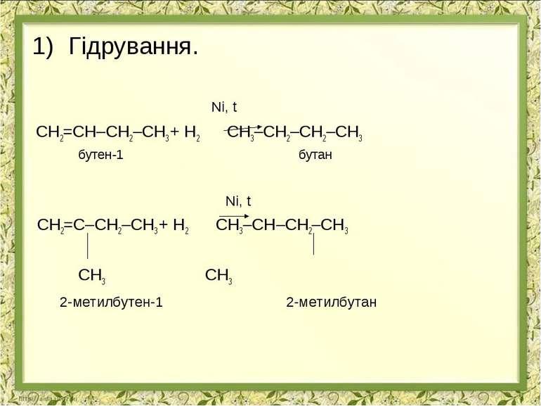 Гідрування. Ni, t СН2=СН–СН2–СН3 + Н2 СН3–СН2–СН2–СН3 бутен-1 бутан Ni, t СН2...