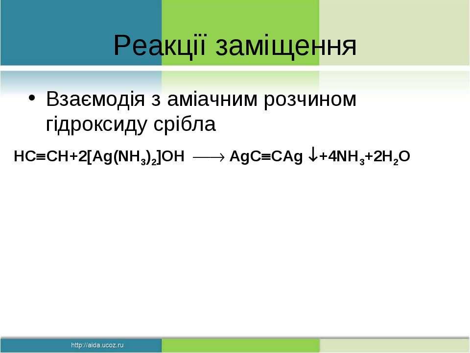 Реакції заміщення Взаємодія з аміачним розчином гідроксиду срібла HC CH+2[Ag(...
