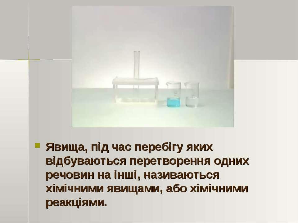 Явища, під час перебігу яких відбуваються перетворення одних речовин на інші,...