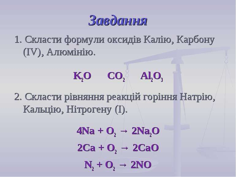 Завдання 1. Скласти формули оксидів Калію, Карбону (IV), Алюмінію. K2O CO2 Al...
