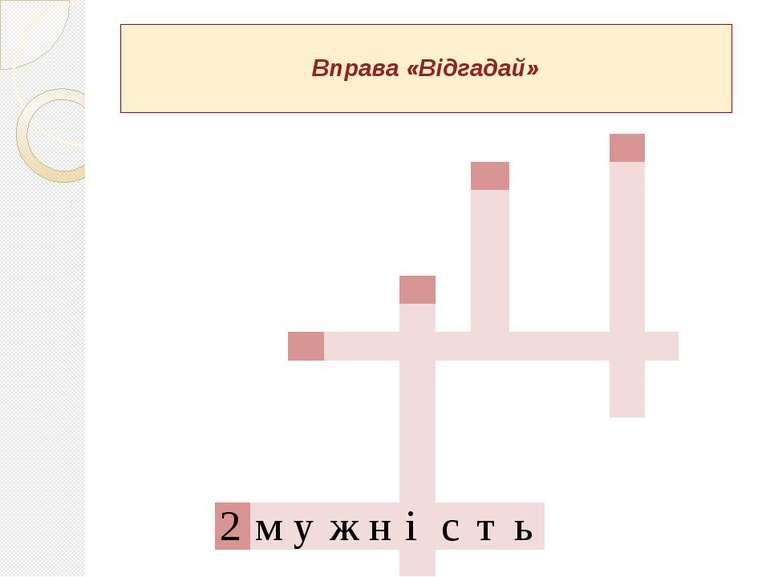 Вправа «Відгадай» 2 м у ж н і с т ь