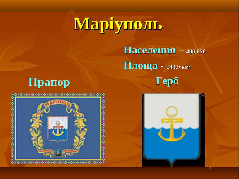 Маріуполь Населення – 486 856 Площа - 243.9км² Герб Прапор