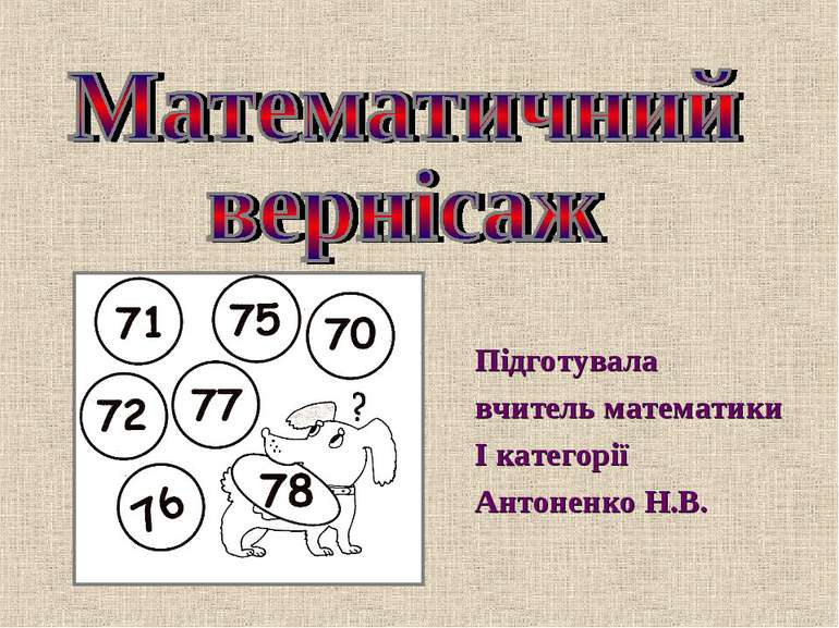 Підготувала Підготувала вчитель математики І категоріїАнтоненко Н.В.