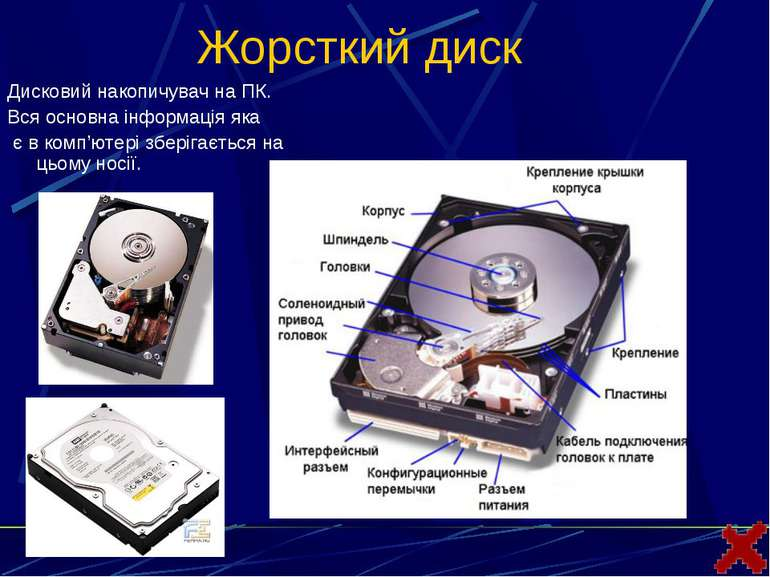 Жорсткий дискДисковий накопичувач на ПК. Вся основна інформація яка є в комп'...