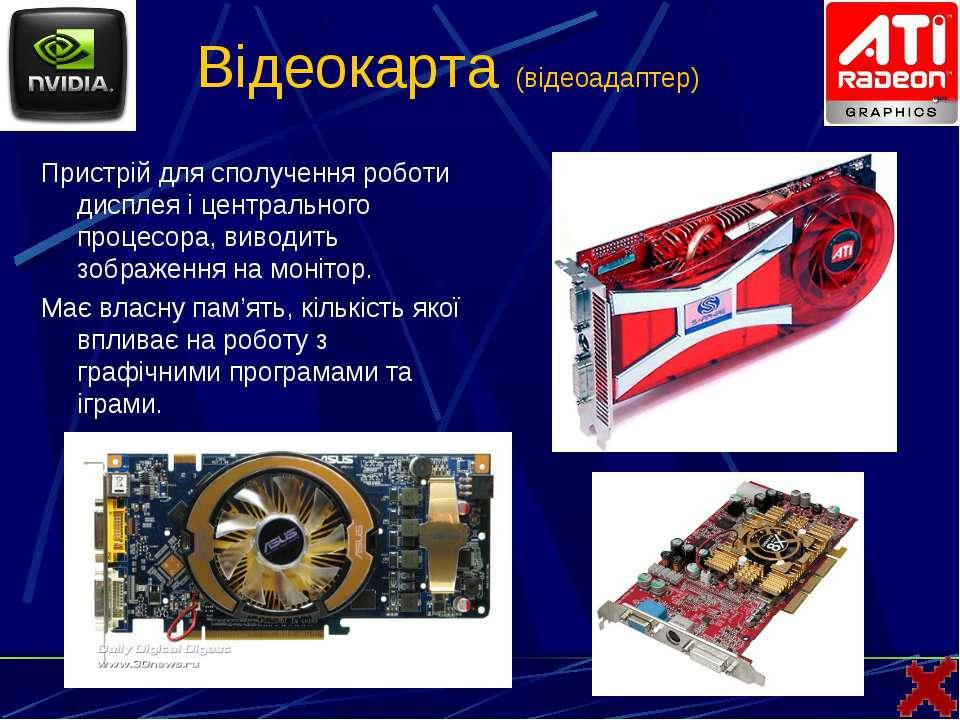 Відеокарта (відеоадаптер)Пристрій для сполучення роботи дисплея і центральног...