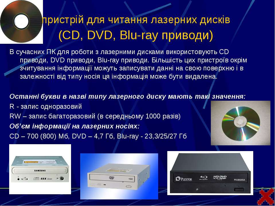 пристрій для читання лазерних дисків (CD, DVD, Blu-ray приводи) В сучасних ПК...