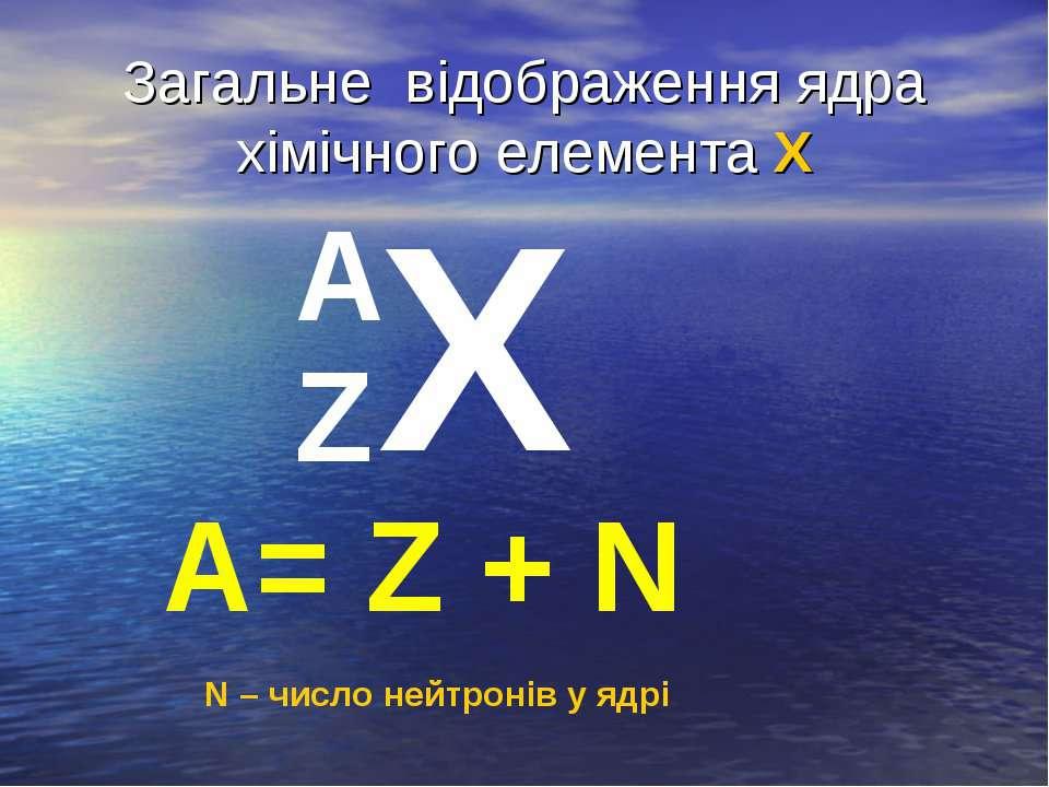 Загальне відображення ядра хімічного елемента Х