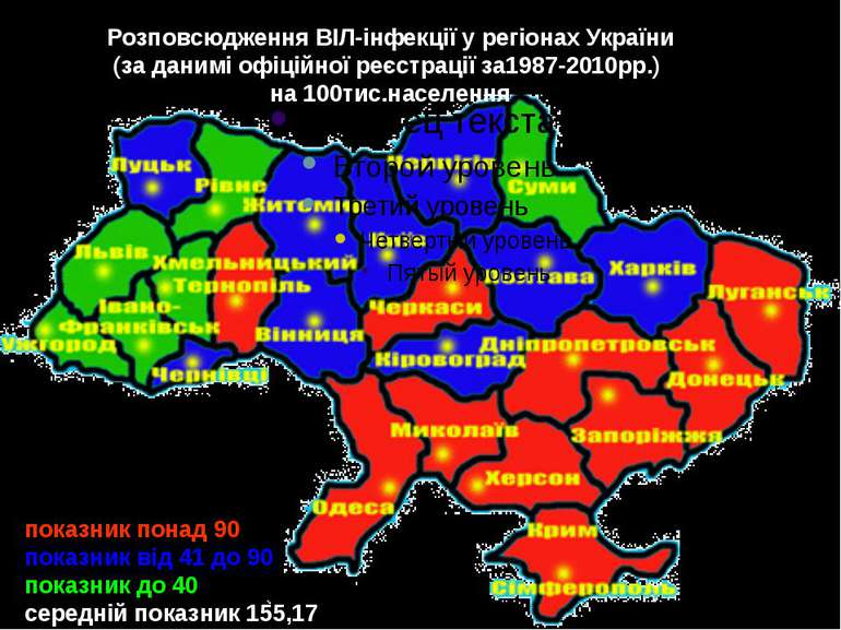 Розповсюдження ВІЛ-інфекції у регіонах України(за данимі офіційної реєстрації...