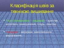 Класифікація швів за технікою вишиванняГлухі (поверхнево – нашивні) – хрестик...