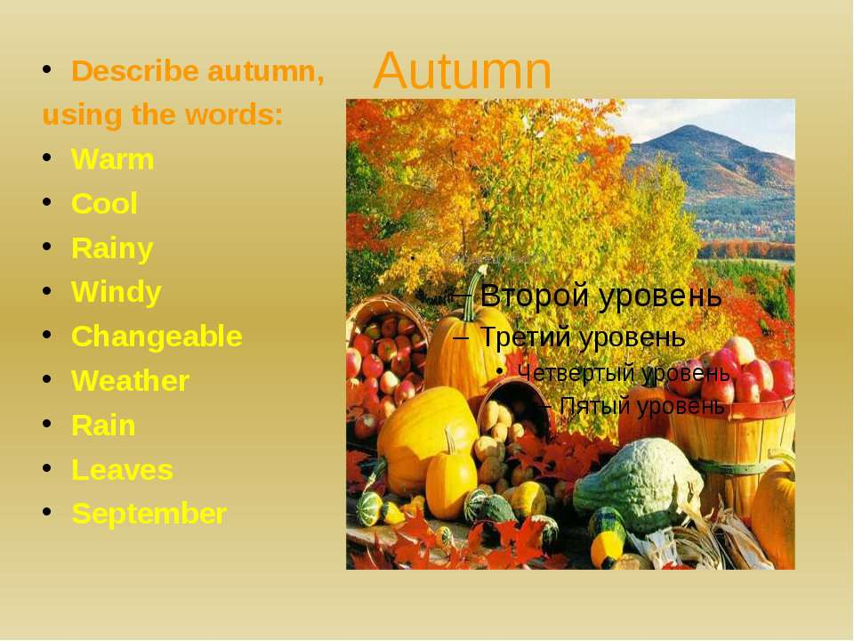 AutumnDescribe autumn, using the words:WarmCoolRainyWindyChangeableWeatherRai...