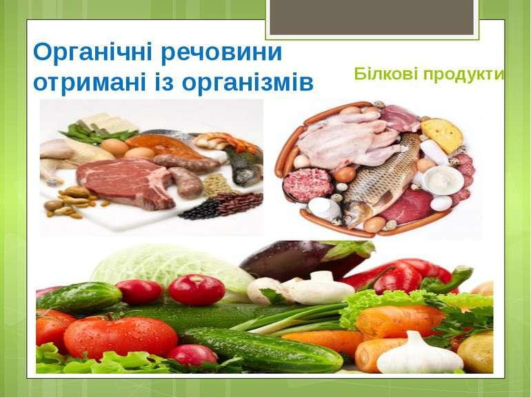 Органічні речовини отримані із організмівБілкові продукти