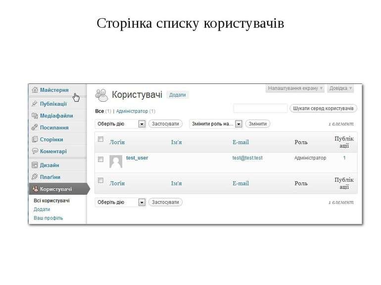 Сторінка списку користувачів