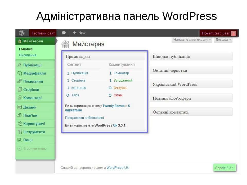 Адміністративна панель WordPress