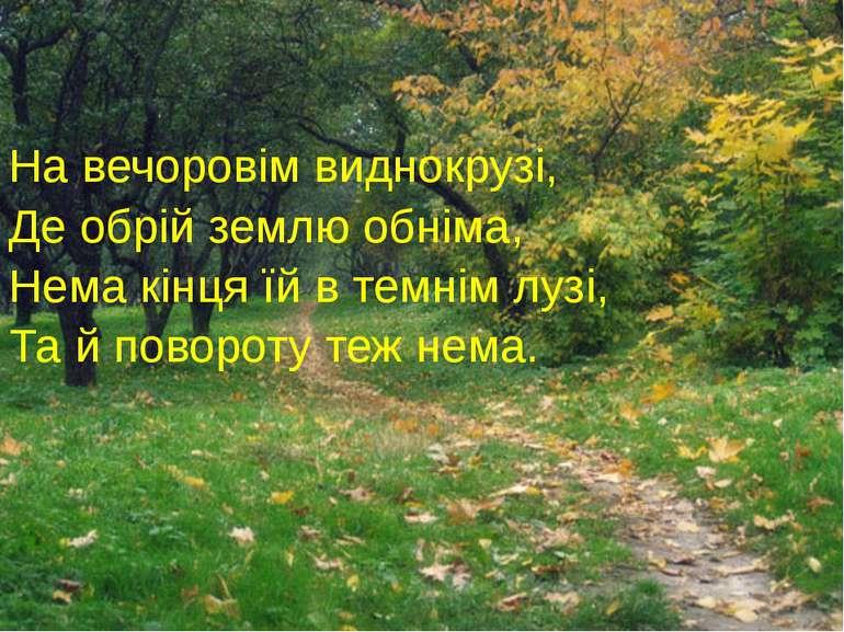 На вечоровім виднокрузі, Де обрій землю обніма, Нема кінця їй в темнім лузі, ...