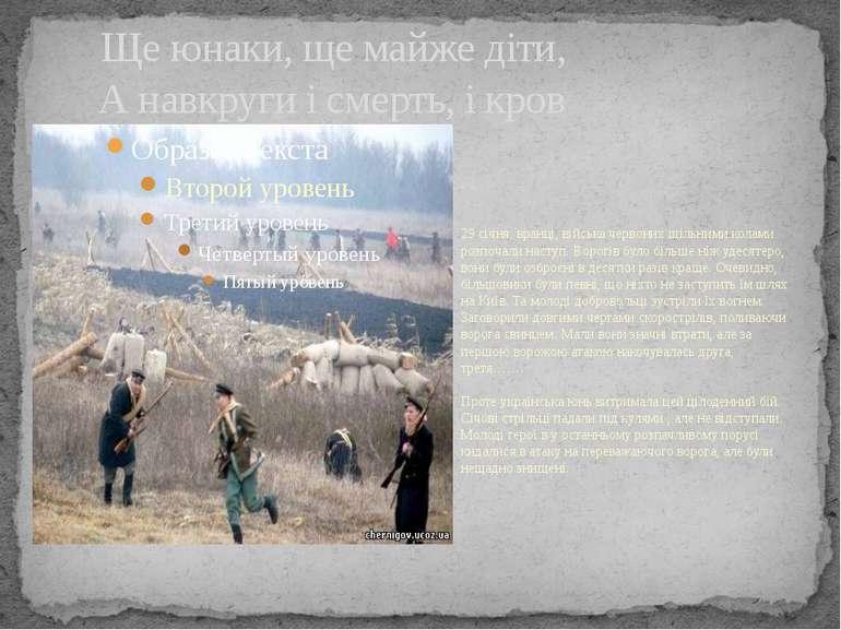 Ще юнаки, ще майже діти, А навкруги і смерть, і кров 29 січня, вранці, військ...