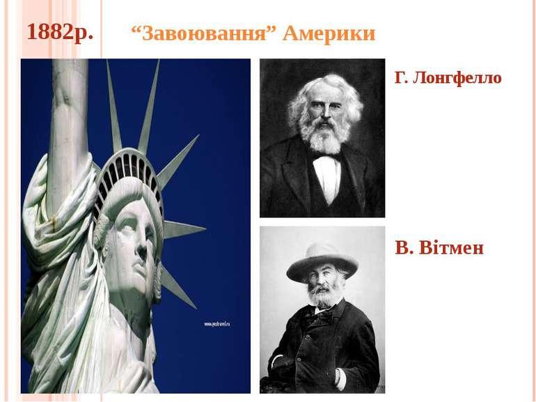 """""""Завоювання"""" Америки Г. Лонгфелло В. Вітмен 1882р."""