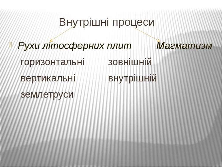 Внутрішні процеси Рухи літосферних плит Магматизм горизонтальні зовнішній вер...