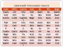 ХІМІЧНИЙ ТРЕНАЖЕР УВАГИ CuO HPO3 CaCO3 ZnO N2 SO2 MgO Fe2O3 CO CO2 FeO NaCl N...