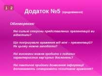 Додаток №5 (продовження)Обговорення:Які сильні сторони представлених презента...