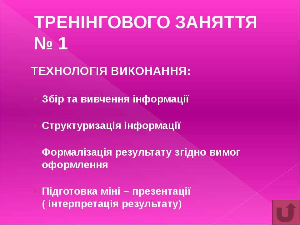 ТРЕНІНГОВОГО ЗАНЯТТЯ № 2 ТЕХНОЛОГІЯ ВИКОНАННЯ: Вивчення та структуризація інф...