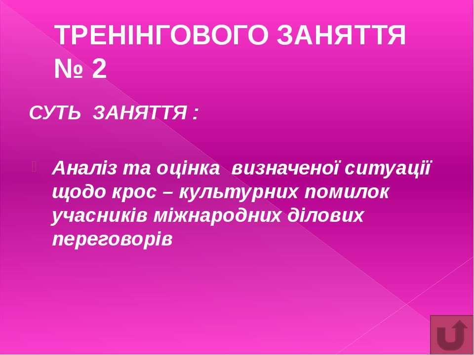 Основна мета Засвоєння та систематизація звичаїв та традицій міжнародного біз...