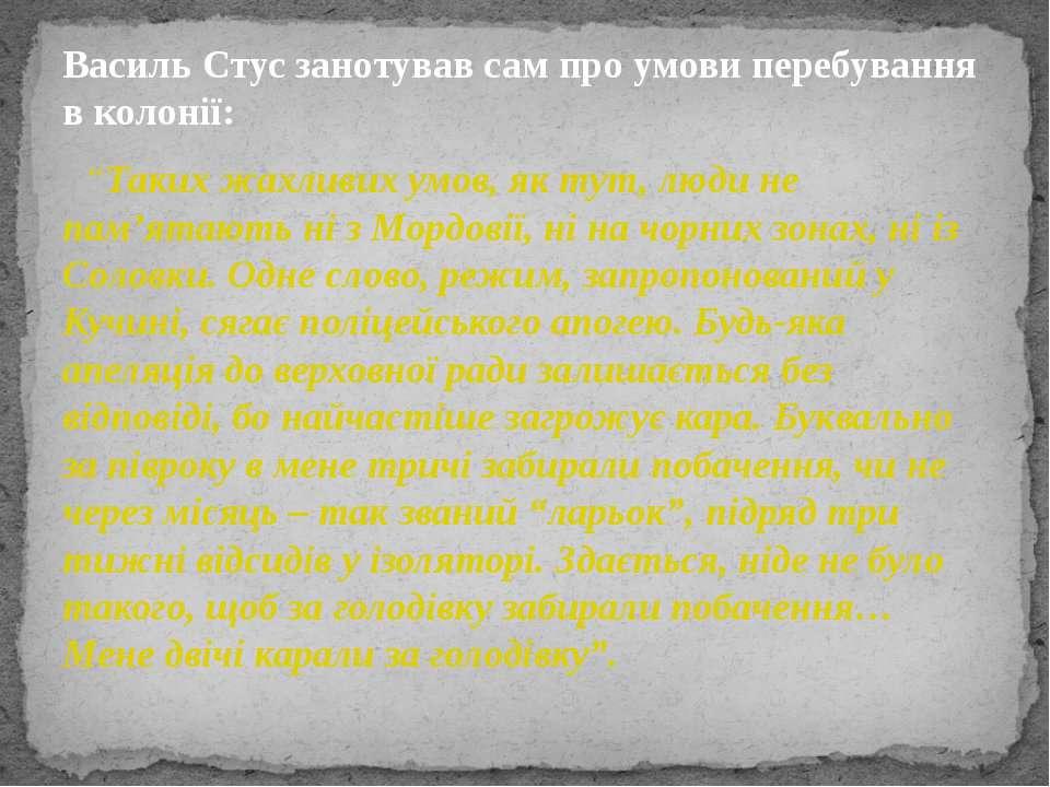 """Василь Стус занотував сам про умови перебування в колонії: """"Таких жахливих ум..."""