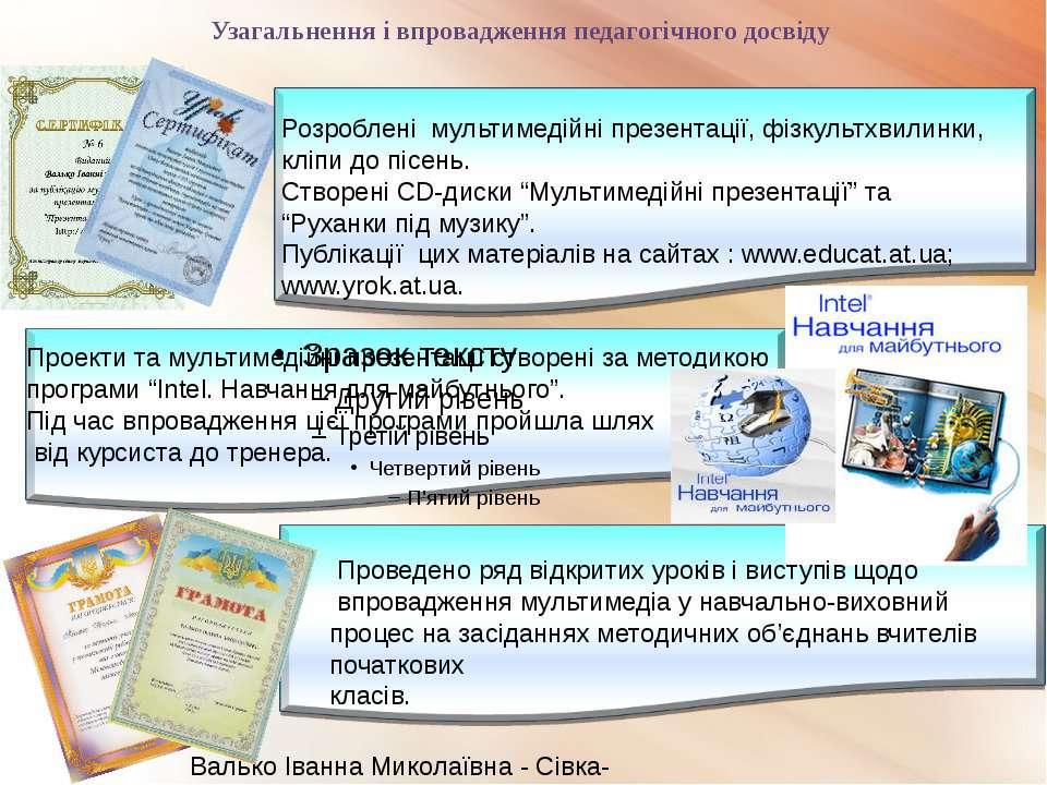 Узагальнення і впровадження педагогічного досвіду Валько Іванна Миколаївна - ...