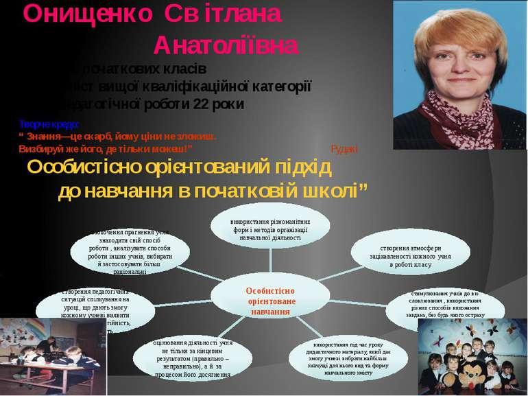 Онищенко Св ітлана Анатоліївна Вчитель початкових класів Спеціаліст вищої ква...