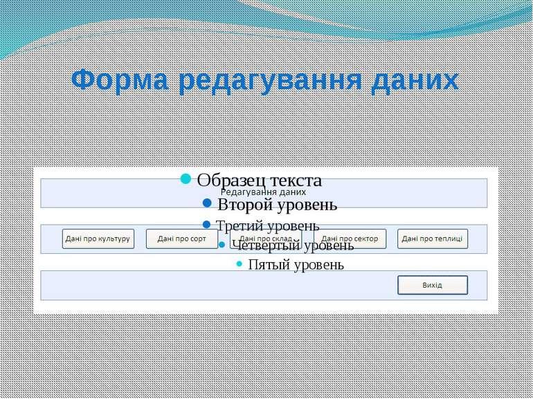 Форма редагування даних