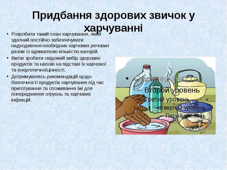 Придбання здорових звичок у харчуванні Розробити такий план харчування, який ...