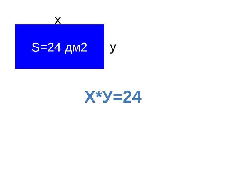 S=24 дм2 х у Х*У=24