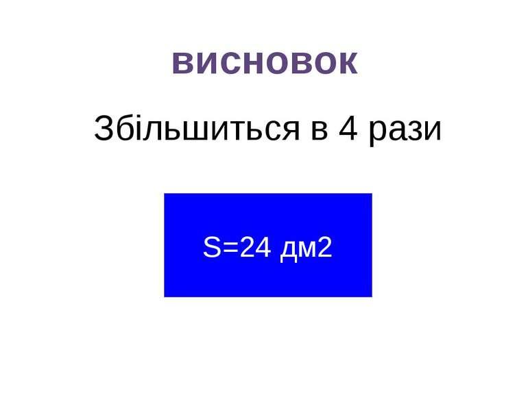 висновок Збільшиться в 4 рази S=24 дм2