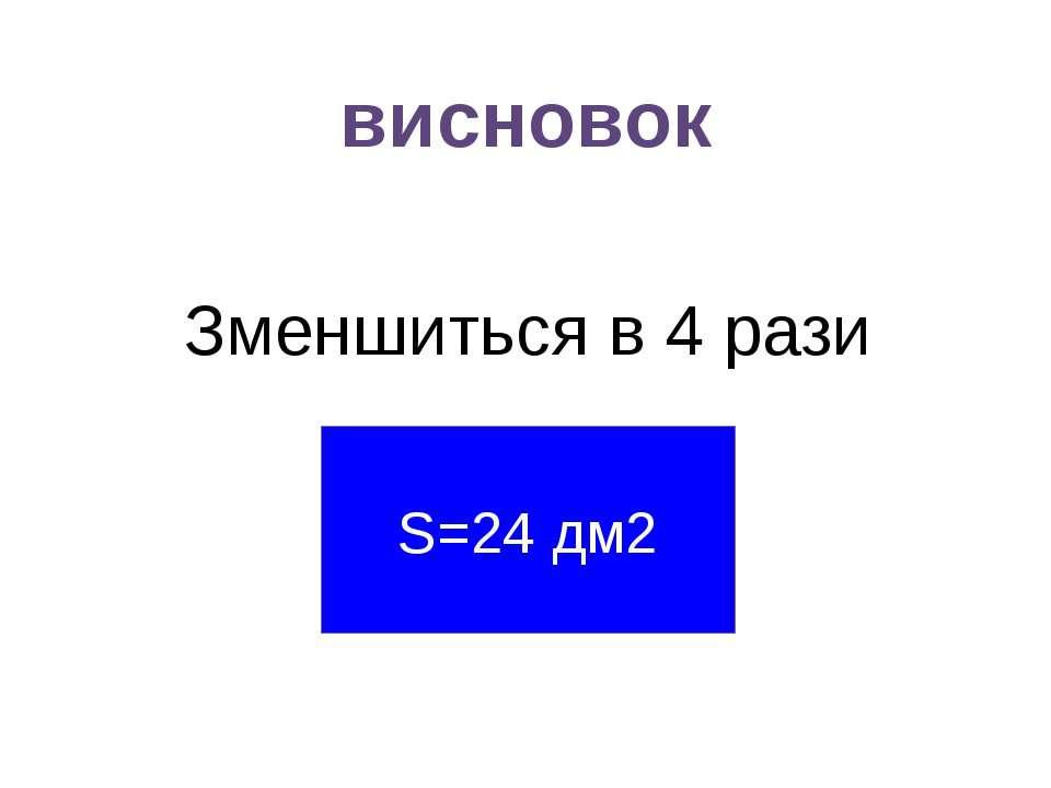 висновок Зменшиться в 4 рази S=24 дм2