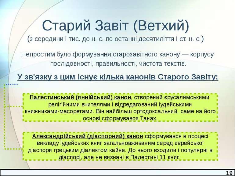 Старий Завіт (Ветхий) (з середини І тис. до н. є. по останні десятиліття І ст...