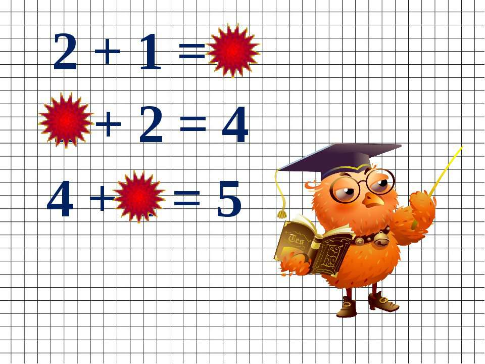 4 + 1 = 5 2 + 2 = 4 2 + 1 = 3