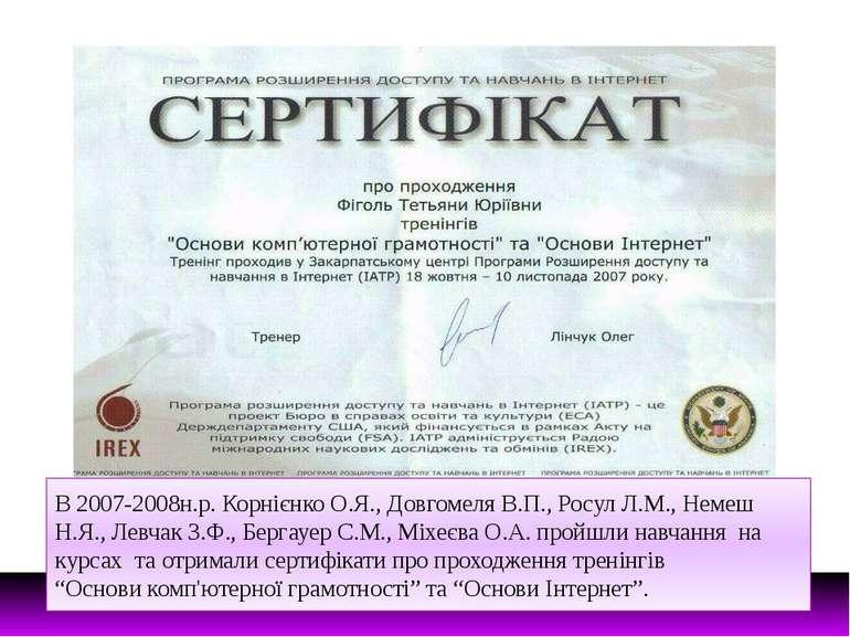 В 2007-2008н.р. Корнієнко О.Я., Довгомеля В.П., Росул Л.М., Немеш Н.Я., Левча...