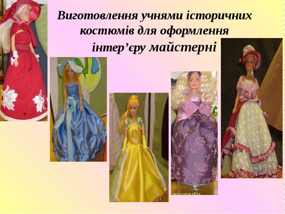 Виготовлення учнями історичних костюмів для оформлення інтер'єру майстерні