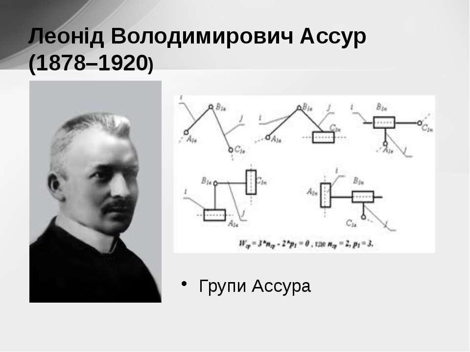 Групи Ассура Леонід Володимирович Ассур (1878–1920)